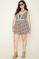 NWT Forever 21 Plus Size Summer Romper Ornate Geometric Pattern Sz 3X