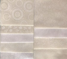 18 ~ 10 Inch Quilt Squares, White on White & Natural Cotton Prints, Layer Cake
