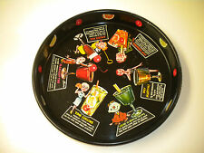 Vintage Round Heavy Duty Metal Bar Serving Tray with Cocktail Drink Recipes