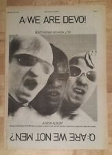 Devo are we not men ? 1978 press advert Full page 28 x 39 cm poster