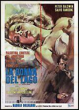 LA DONNA DEL LAGO MANIFESTO CINEMA VIRNA LISI GIALLO ITALIA 1965 MOVIE POSTER 2F