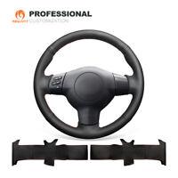 Black Real Leather Car Steering Wheel Cover for Toyota RAV4 Caldina 2003-2005