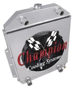 """2 Row CR Champion Radiator,16"""" Fan,Shroud-1942-1952 Ford Truck Flathead Config"""