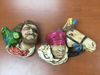 Bossons Chalkware Buccaneer Pirate & Parrot With Lords Of The Desert Lot Of Two!