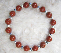 Genuine Gemstone Bead Bracelets With Sterling Silver Spacers.