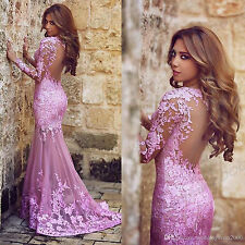 Purple applique Long Mermaid Prom Dresses Formal Party Evening dress Ball Gown