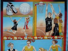 Netball Players PANEL Balls Shoes Court Time Fabric Patchwork Quilting Craft