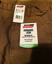 NWT MENS DICKIES ED218STB BROWN DUNGAREE RELAXED FIT WORK JEANS 32 X 30 B1
