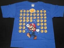 Nintendo Super Mario & Coins Blue Printed T Shirt Youth Size XL  w/Tags