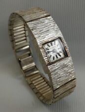 Vtg 1976 Everite Ladies Swiss Solid Silver Cocktail Wrist Watch & Silver Strap