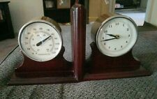 Vintage Pier 1 Wood Nautical Maritime Bookends w/Clock & Thermometer New Battery