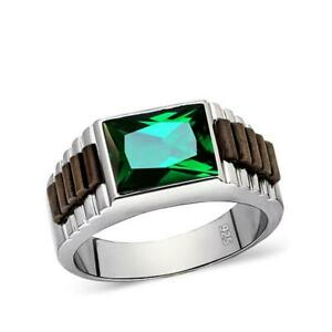 Male Ring Green Emerald Gemstone in Solid Real 925 Sterling Silver