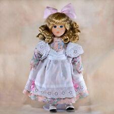 "Collector's Porcelain Girl Doll 14"" Blond Hair Blue Eyes Pink Flowered Dress"