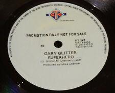 "GARY GLITTER - SUPERHERO Rare 1979 Australian PROMO 7"" Oz GTO Glam Rock Single"