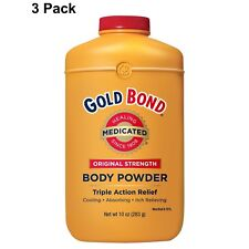 3 Pack Gold Bond Medicated Body Powder Triple Action Relief 4 oz Each