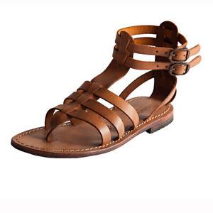 Sandali da donna con SUOLA CUOIO Gladiatore Bassi in pelle Fashion Cognac Taglia