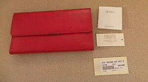 Genuine Louis Vuitton Red Leather Tresor Wallet orig box, price tag, pouch VG+
