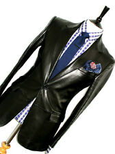 LUXURY MENS GUCCI TOM FORD ITALIAN BLACK LEATHER SUIT STYLE JACKET COAT 38R