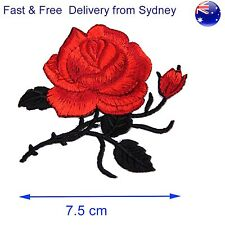 Rose Iron on patch - red flower blossom - Floral deco iron-on embroidery patches