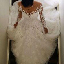 Long Sleeve Lace Muslim Princess Bridal Ball Gown Luxury Wedding Dress Custom