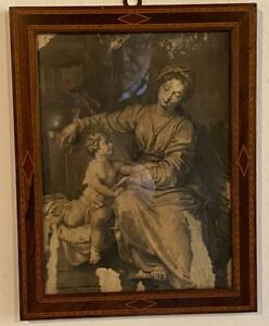 antica stampa madonna con bambino in cornice intarsiata
