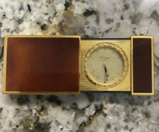 More details for vintage st dupont gold plated lacque de chine travel clock in leather pouch