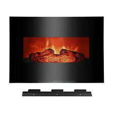 "26"" Electric Fireplace Wall Mounted Heater Log Flame Remote 1400W​ Fake Wood"