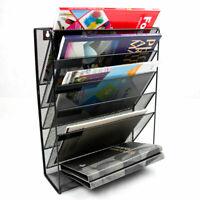 Wall Mounted Magazine Rack Document File Holder Storage Organiser Metal Black