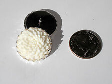 "Ivory Dahlia Resin Button 1"" handcrafted shank silver plated crown edge tray"
