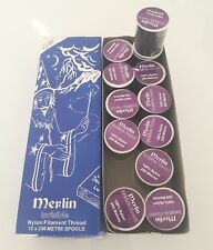 MERLIN INVISIBLE MAGIC DARK SEWING THREAD NYLON 200M SPOOL-BOX OF 12 ONLY £8.99