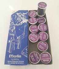 Merlin Invisible Mágico oscuro hilo de coser Bobina De Nailon 200 M-Caja de 12 sólo £ 8.99