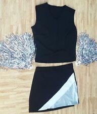 6b273cecc4 ADULT XL XXL REAL Black Silver Cheerleader Uniform Top Skirt Brief 40-42/33