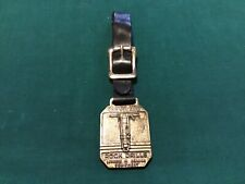Vintage Clevland Rock Drill Key Fob with Black Leather Strap: Two Sided