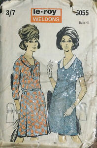 Vtg 60s Le Roy Easy Sewing Pattern Princess Line Semi Fitted Dress Sz 20 Bust 42