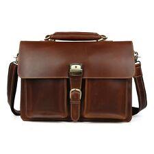 TIDING Mens Genuine Leather Messenger Shoulder Saddle Bag Satchel Business