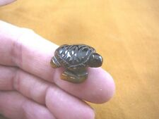 "(Y-TUR-SE-505) 1"" SEA TURTLE Brown Tiger's Eye carving FIGURINE gemstone turtles"