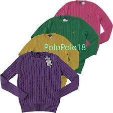 New Ralph Lauren Women Crewneck Cable Sweater Pony