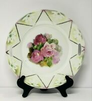 Vintage Porcelain Hand Painted Handled Cake Plate with Pink Roses