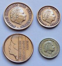 Lot de 4 pièces des PAYS-BAS: 1 cent 1969, 10 cent 1970, 5 cent 1979 et 1987