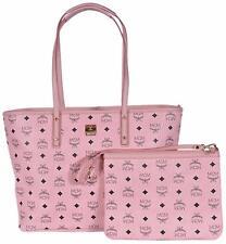 New MCM Women's ANYA Visetos Pink Signature Zip Shopper Purse Handbag Tote