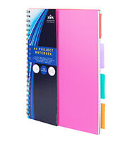 A4 Note Book Spiral Edge 160 Pages 4 Dividers Pad Project Book Pink