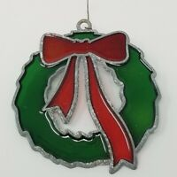 Vintage Stained Glass Red Bow Green Wreath Christmas Ornament