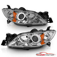 2004-2009 Mazda 3 CCFL Halo Projector Chrome Headlights Pair 2005 2006 2007 2008