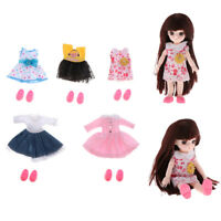 5 Set 16cm/6inch Mini Girl Doll Clothes Suit DIY Dress up Accessory Style 3