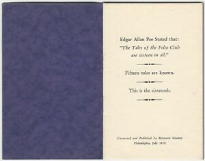 The Spectacles by Edgar Allan Poe - 1938 Gimbel Printing of Poe Hoax / Fake