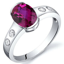 Elegant 1.75 cts Ruby Half Bezel Solitaire Ring Sterling Silver