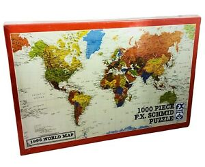 WORLD MAP Puzzle 1000 Pieces 1996 26 1/2 x 17 1/4 NEW Geography Learn FX SCHMID