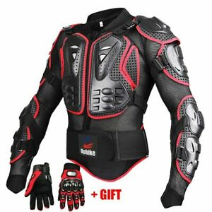 Men Motorcycle Jackets Full Body Protection Black Red Armor Gear Clothing Bike