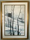 P Buckley Moss 1979 Framed Signed LARGE Rare LE Winter Landscape Lithograph