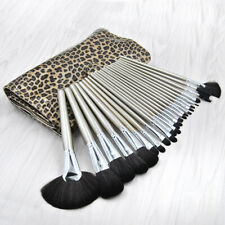 24PCS Makeup Brushes Face Powder Eyeshadow Lip Brush Tools Leopard Print Bag US